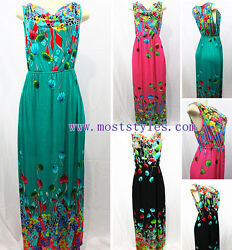 New Women Summer Evening Party Maxi Sundress Casual Summer Colorful Long Dress $7.40