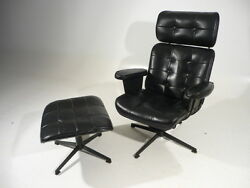 60's Mid Century Modern Homecrest Wire Lounge Arm Chair wOttoman Eames Style