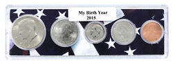 2015 Birth Year Coin Set in American Flag Holder - 5 Coin Set