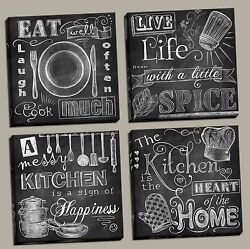 NEW Set of 4 Stretched Canvas Kitchen Chalkboard 12x12quot; Eat Home Heart Spice $54.99