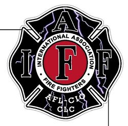 4quot; IAFF Decal Lightning Bolts Exterior Mount READ AUCTION