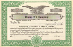 Viking Oil Company gt; Unissued Wisconsin stock certificate $3.99