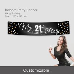 21st Birthday Girls Decorations Supplies Fabric Party Banner Custom Name Age AU $19.95