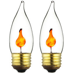 2PK Flickering Flame STANDARD Light Bulbs - 3w Realistic Candle Flicker E26 NEW!