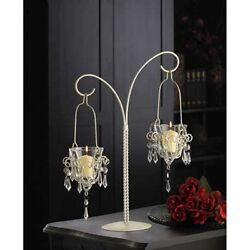 White 17quot; tall Crystal beaded chandelier Candle Holder Hanging stand candelabra $31.90