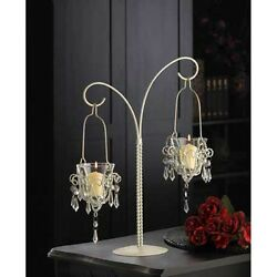 White 17quot; tall Crystal beaded chandelier Candle Holder Hanging stand candelabra $29.00