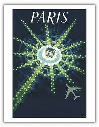 Paris France Arc de Triomphe Airplane Nightlife Vintage Art Poster Print Giclee