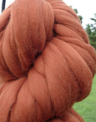 Chestnut Brown Wool Top Roving Spin into Yarn Needle & Wet Felt Craft FREE SHIP