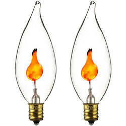 2 Pack E12 Flickering Flame Candelabra Light Bulbs 3w Realistic Candle Flicker $8.99