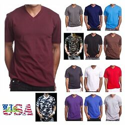 Men#x27;s HEAVY WEIGHT V Neck T Shirt Lot Plain Tee BIG And Tall Comfy Camo Hipster $11.99