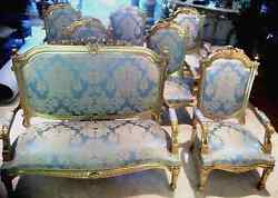 Antique French gold-silk chair set Louis XIV 1860 Restored Stunning Dining
