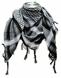 NEW Premium Shemagh Head Neck Scarf  Black Grey FREE SHIPPING