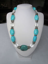 NECKLACE POLISHED TURQUOISE W FACETED CRYSTAL UNIQUE SILVER TONED BEADS 20