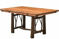 Amish Hickory Twig Bark Trestle Dining Table Rectangle Solid Wood Rustic Lodge