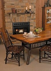 Amish Hickory Twig Leg Pedestal Dining Table Rectangle Solid Wood Rustic Cabin