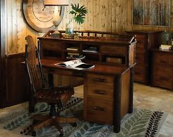 Amish Rustic Hickory Secretary Desk with Topper Solid Wood Home Office Furniture