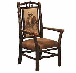 (4) Amish Hickory Log Dining Arm Captains Chairs Upholstered Rustic Cabin Lodge
