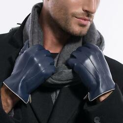 USA STOCK Luxury Men Winter Warm Classic 3-Line Lambskin Leather Gloves 4 colors