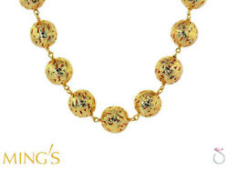MING'S HAWAII LARGE PIERCED BALL NECKLACE IN 14K FLORAL SCROLL DESIGN VERY RARE