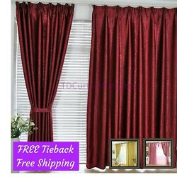 Blackout Maroon*Gold*Pink Fabric Bedroom Curtain Design Drape+Sheer Pleat Eyelet