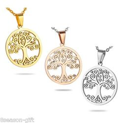 Hot Stainless Steel Round Pendants Tree of Life Pattern Shiny Crystal Jewelry
