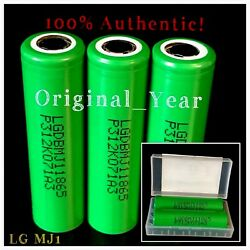 3 LG MJ1 18650 3500mAh 10A High Drain Rechargeable Battery  Flat Top  Free Case