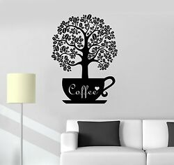 Vinyl Decal Coffee Beans Shop Tree Kitchen Decor Wall Stickers Mural ig3557 $20.99