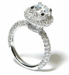 Dazzled Halo Diamond Engagement Semi-Mount in 18k White Gold (1.7 ct TDW)