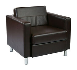 Office Star Pacific Easy-Care Espresso Faux Leather Armchair wBox Spring Seat