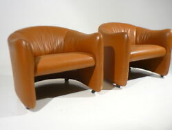 2 Vintage Metropolitan Leather ClubLounge Chairs Mid Century Modern Knoll Era