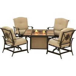 Hanover Traditions Outdoor Patio Set 5pc - 4 Rockers & Fire Pit TRADTILE5PCFP