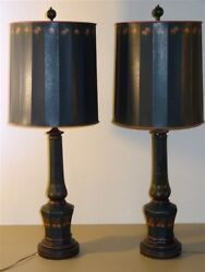 Pair Hand Painted Vintage Enamel Glass Lamps amp; Shades $60.00