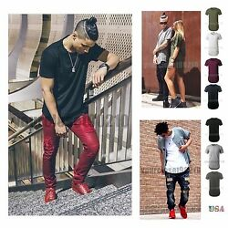 Mens Crew Neck Plain T SHIRT Long Extended Casual Slim Fit Sports Active Gym $8.99