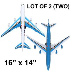 LOT OF 2 - PLANE TOY A380 BIG PULL CORD COMMERCIAL AIRPLANE PLANE ASSEMBLE $8.99