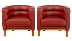 PAIR OF 1970's LARGE LEATHER CLUB ARMCHAIRS
