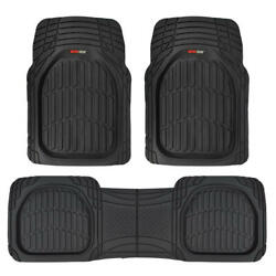 FlexTough Shell Rubber Floor Mats Black Heavy Duty Deep Channels for Car 3pc Set $32.50