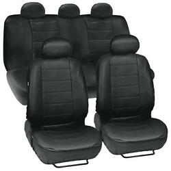 Black Leatherette Car Seat Covers Front Rear Full Set Synthetic Leather Auto $39.50