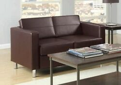 Office Star Pacific Easy-Care Espresso Faux Leather LoveSeat wBox Spring Seats