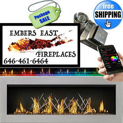 Napoleon LV50 Linear Gas Fireplace Direct Vent SS Nickel Stick Ember Bed Package