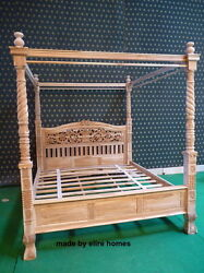 TEAK WOOD Super King size naturel rustic style Four poster canopy Bed