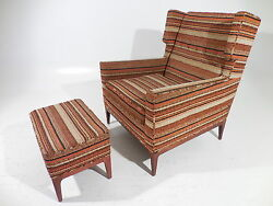 Vintage Fabulous Square Wing Back Lounge Chair wOttoman WormleyStewart Style
