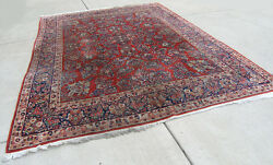 Antique Persian Room Size Sarouk Oriental Rug Carpet 104 by 142 inches Mint Cond