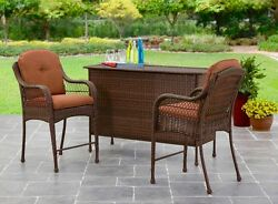 Patio Bar Set Table and 2 Chairs with Cushions Deck Dining Outdoor Furniture NEW