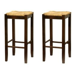 Solid Wood Set Two Walnut Rush Seat Bar Stools Kitchen Patio 29 Inch Height