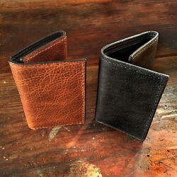 Handmade Amish Leather Trifold Wallet in Black or Brown Tri Fold Cash Holder $59.95