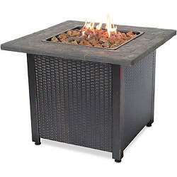 Gas Outdoor Fireplace Heater Brown Gold Propane Backyard Deck Table Nylon Stones