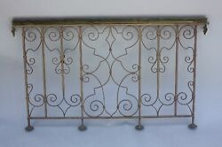 1920s Iron Balcony Piece Antique Rail Vintage Bannister Balustrade (9367)