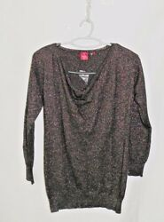 NWOT Saks RED Label Cashmere Metallic Thread Cowl Neck Sweater Sz M 68