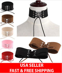 Sexy Women Lace Up Gothic Punk Choker Velvet Suede Leather Necklace Jewelry