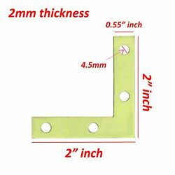 4 Pcs 2quot; inch quot;Lquot; Steel Flat Corner Braces w Screw Pack LOT Right Angle Bracket